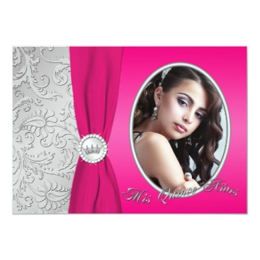 Quinceanera | Hot Pink and Silver | Photo 5x7 Paper Invitation Card