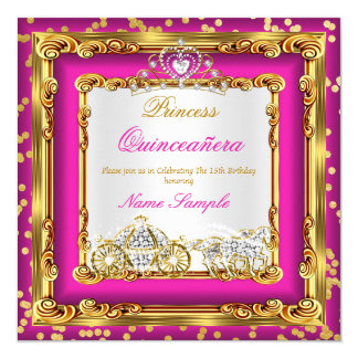 Quinceanera Hot Pink Gold Diamond Horse Carriage Card