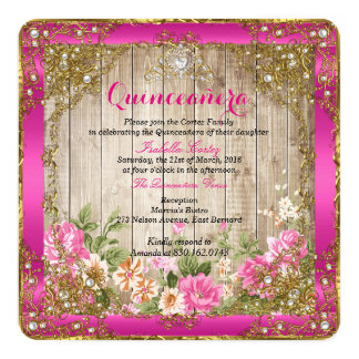 Quinceanera Hot Pink Rustic Wood Floral Gold Card