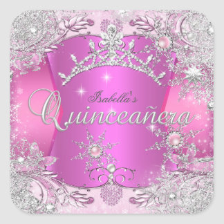 Quinceanera Hot Pink Winter Wonderland Snowflakes Square Sticker