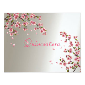 Quinceanera, invitación Sakura del dulce dieciséis