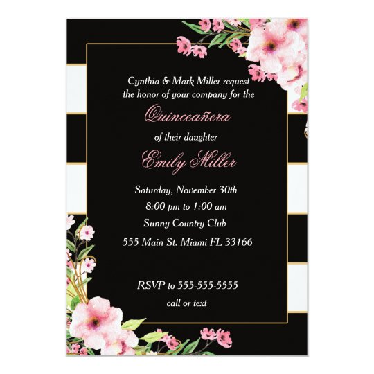 632436574f Quinceañera Invitation Black White Pink Flowers