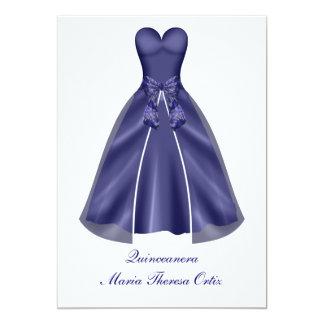 Quinceanera Invitation Elegant Blue Gown Invite
