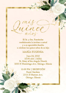 Quinceanera Invitation Spanish Pink Gold Foil