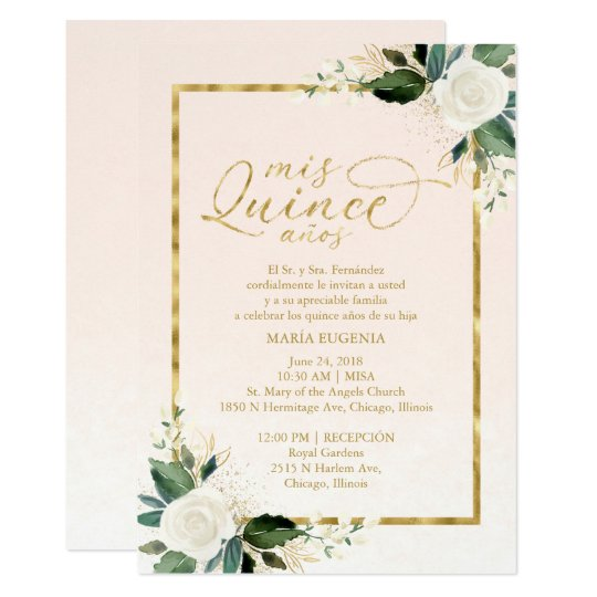 Quinceanera invitation spanish pink gold foil zazzle quinceanera invitation spanish pink gold foil stopboris Images