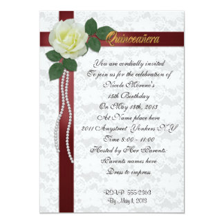 Quinceanera Invitation White rose and red ribbon