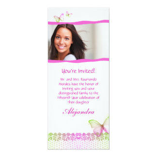 Quinceanera Invitations Butterfly Lace PG2