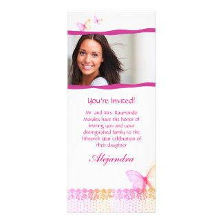 Quinceanera Invitations Butterfly Lace Pink Orange