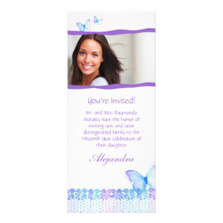 Quinceanera Invitations Butterfly Lace Purple Blue