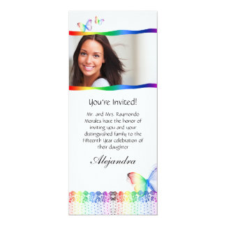 Quinceanera Invitations Butterfly Lace Rainbow