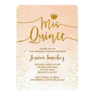 Quinceañera Invitations Peach Gold Mis Quince