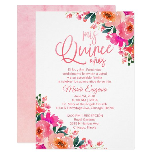 Quinceanera Invitations Spanish Hot Pink Floral Zazzle Com