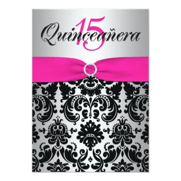 Quinceanera Invite | PRINTED RIBBON Pink, Black