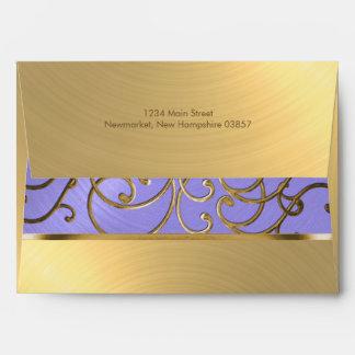 Quinceanera Lavender Purple and Gold Filigree Envelope
