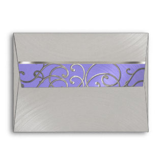 Quinceanera Lavender Purple Silver Filigree Swirls Envelope