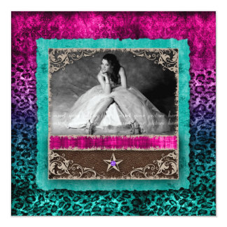 Quinceanera Leopard Photo Card Western Star