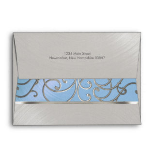 Quinceanera Light Blue and Silver Filigree Swirls Envelope