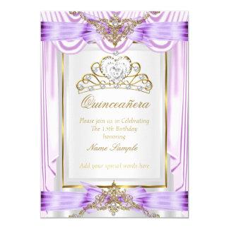 Quinceanera Lilac Lavender Purple Gold White 5x7 Paper Invitation Card