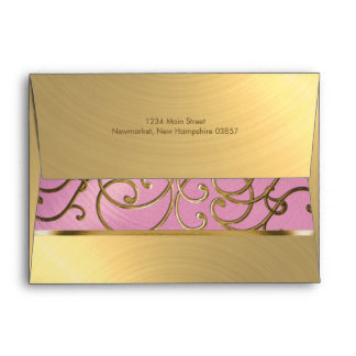 Quinceanera Lilac Pink and Gold Filigree Swirls Envelope