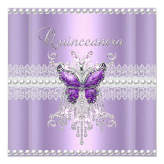 Quinceanera Lilac Pink Pearl Lace Butterfly Card
