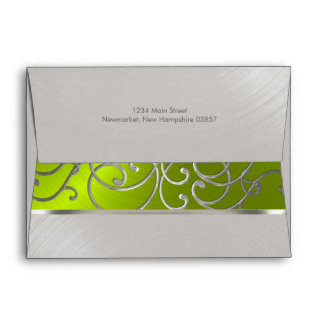 Quinceanera Lime Green and Silver Filigree Swirls Envelope