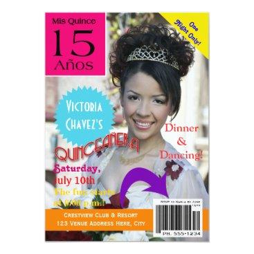 Quinceanera | Magazine Cover | Photo | 15th 5x7 Paper Invitation Card