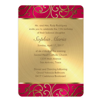 Quinceanera Magenta Pink and Gold Filigree Swirls Card
