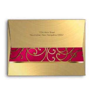 Quinceanera Magenta Pink and Gold Filigree Swirls Envelope