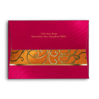 Quinceanera Magenta Pink Orange Gold Filigree Envelope