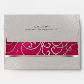 Quinceanera Magenta Pink Silver Filigree Swirls Envelope