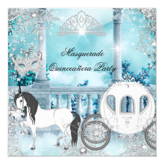 Quinceanera Magical Princess Blue Horse Carriage Card