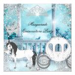 Quinceanera Magical Princess Blue Horse Carriage 5.25x5.25 Square Paper Invitation Card