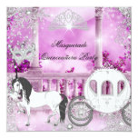 Quinceanera Magical Princess Pink Horse Carriage 5.25x5.25 Square Paper Invitation Card