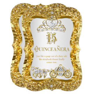 Quinceanera Magical Tiara Gold White Invite