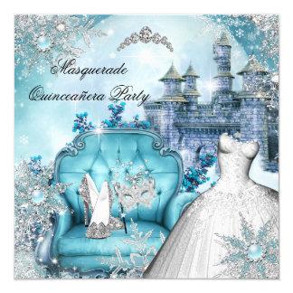 Quinceanera Masquerade Magical Princess Blue 2 Card