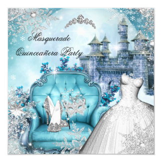 Quinceanera Masquerade Magical Princess Blue Card