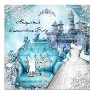 Quinceanera Masquerade Magical Princess Blue Personalized Invites