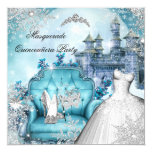 Quinceanera Masquerade Magical Princess Blue Invitation