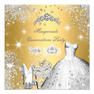 Quinceanera Masquerade Magical Princess Gold 5.25x5.25 Square Paper Invitation Card