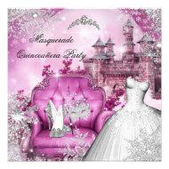 Quinceanera Masquerade Magical Princess Pink Custom Invitation