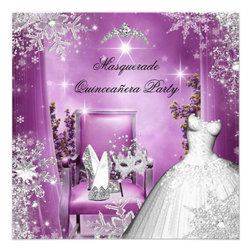 Quinceanera Masquerade Magical Princess Pink Invite