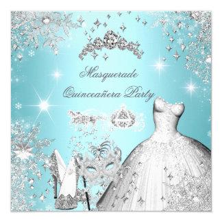 Quinceanera Masquerade Magical Princess Teal Blue Card
