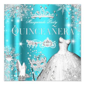 Quinceanera Masquerade Magical Princess Teal Card