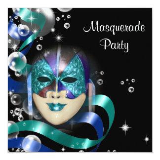 """Quinceanera masquerade mask PERSONALIZE 5.25"""" Square Invitation Card"""