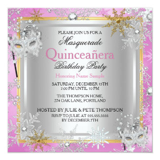 Quinceanera Masquerade Pink Gold Snowflakes Silver Card