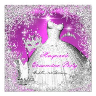 Quinceanera Masquerade Pink White Snowflakes Invites