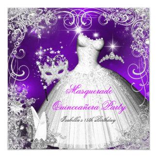Quinceanera Masquerade Purple White Snowflakes 2 Card