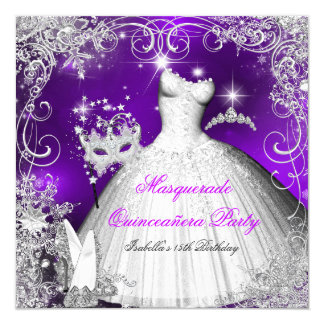 Quinceanera Masquerade Purple White Snowflakes 2 Invitation