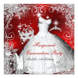 Quinceanera Masquerade Red White Snowflakes 2 Card