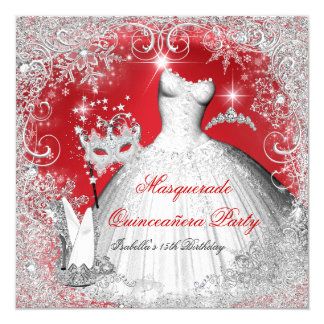 Quinceanera Masquerade Red White Snowflakes Card